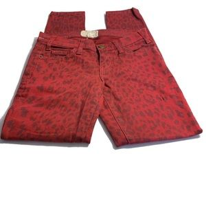 Current/Elliott Red Leopard Jeans Skinny Fig 24